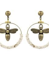 French Kande French Kande Brass Miel & Bone Hoop Earrings