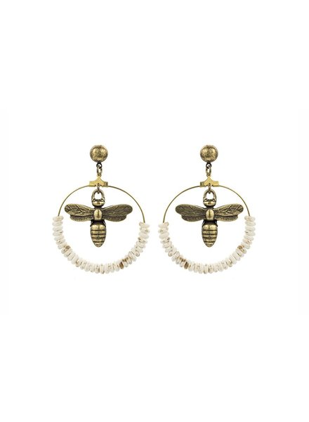 French Kande French Kande Brass Miel & Bone Hoop Earrings