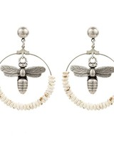 French Kande French Kande Silver Miel & Bone  Hoop Earrings