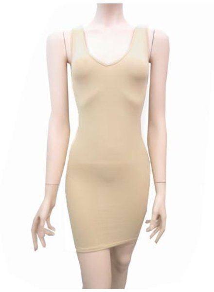 Wide Strap Reversible Neck Long Cami/Dress In Nude
