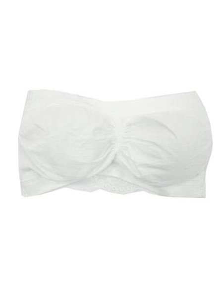 Lace Back Bandeau Padded Bra In White