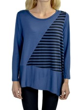 Comfy Clara Tunic In Blue Allure & Stripe