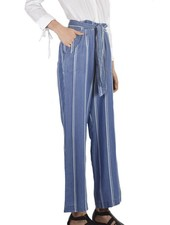 Renuar Tencel Easy Pant In Washed Denim Stripe