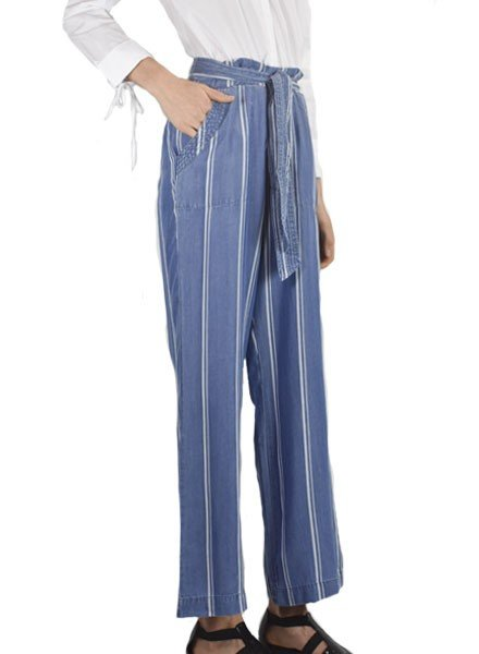 Renuar Renuar Tencel Easy Pant In Washed Denim Stripe