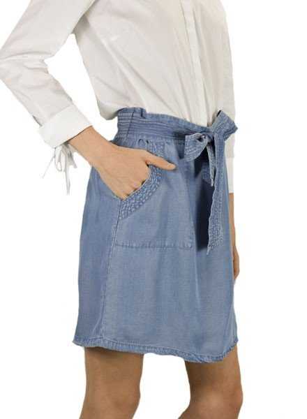 Renuar Renuar Tencel Easy Skort In Light Denim