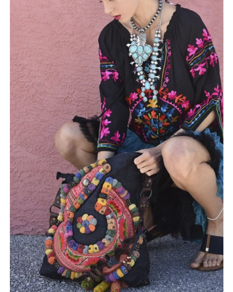 Black Hill Tribe Bag with Leather Strap