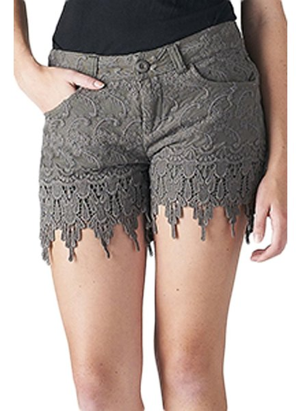 Crochet Lace Shorts In Olive