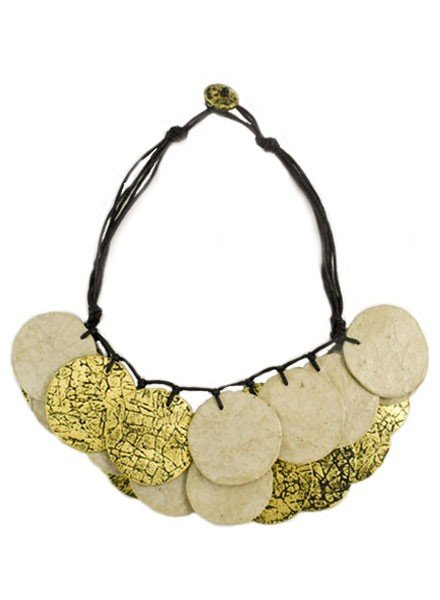Circle Art Necklace In Gold & Natural
