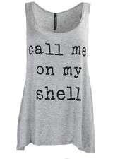 Call Me On My Shell Tank In Heather Grey