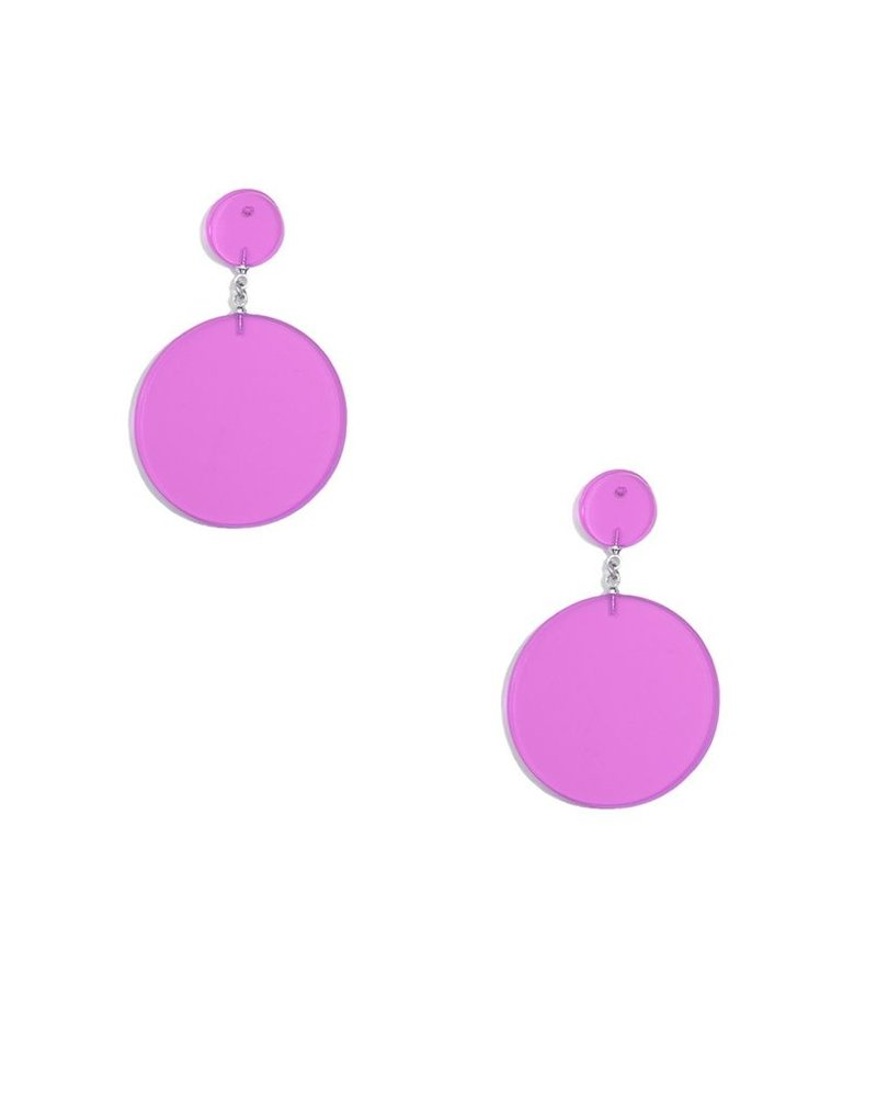 Lucite Solid Circle Earrings In Rose