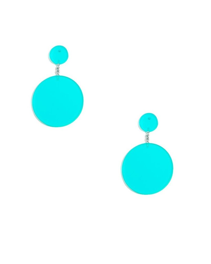 Lucite Solid Circle Earrings In Teal