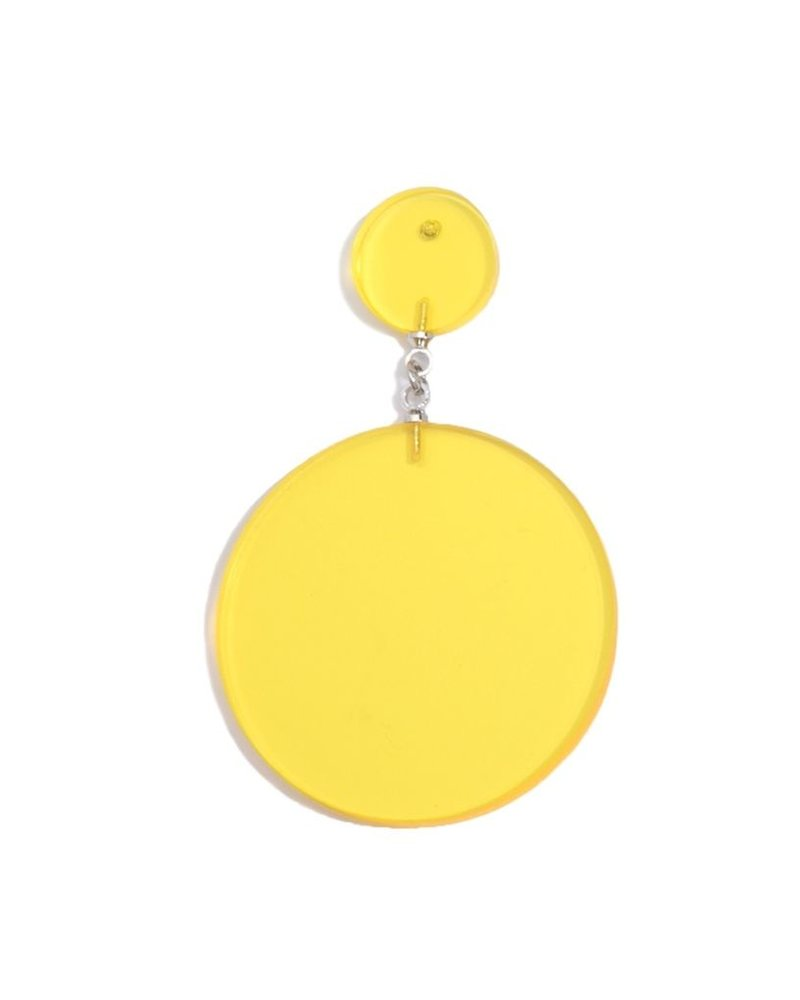 Lucite Solid Circle Earrings In Yellow