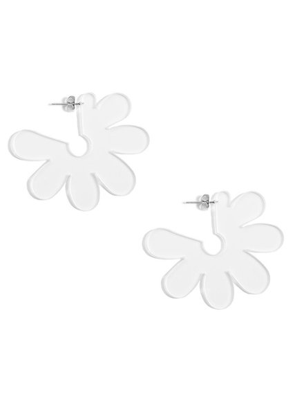 Flat Lucite Flower Earrings In Clear