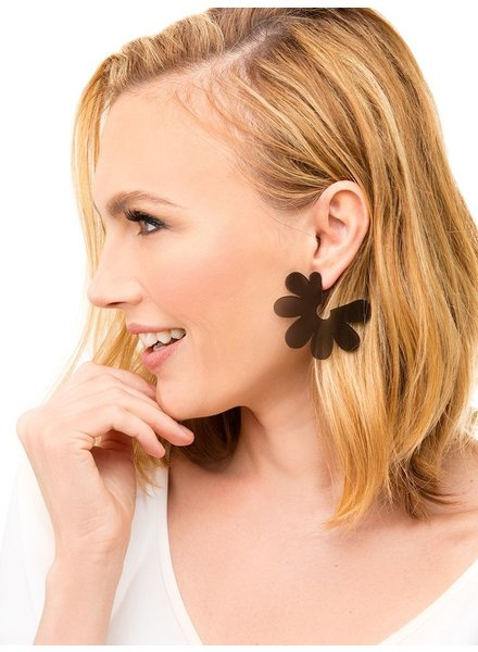 Flat Lucite Flower Earrings In Black
