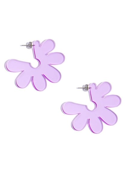 Flat Lucite Flower Earrings In Lavender