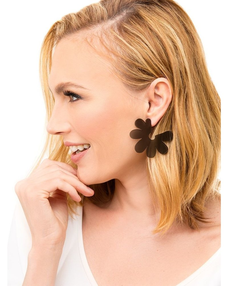 Flat Lucite Flower Earrings In Rose