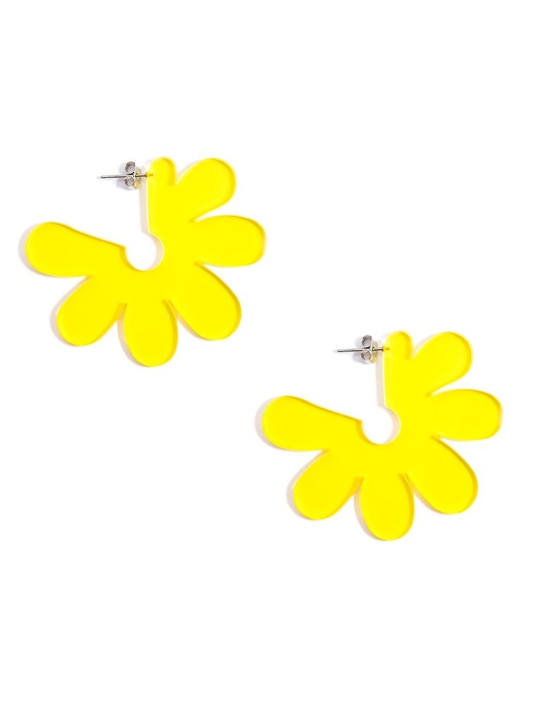 Flat lucite flower earrings in yellow shady and katie flat lucite flower earrings in yellow mightylinksfo