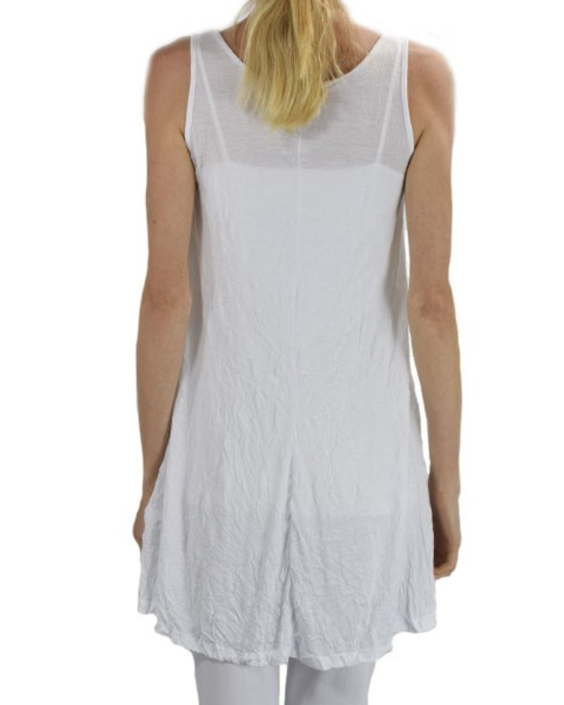 Comfy U.S.A. Comfy Crinkle Tunic Tank In White