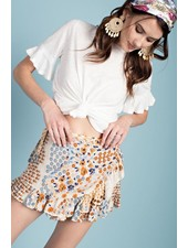 Ruffled Wrap Skort In Natural Print