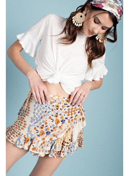 Easel Ruffled Wrap Skort In Natural Print