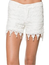 Crochet Lace Shorts In White