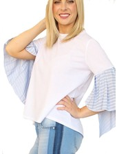 Camille&Co My Cute Bell Sleeve Top In Blue Stripe