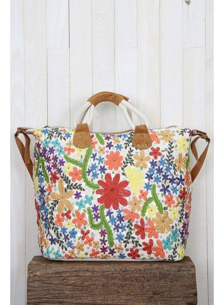 Embroidered Floral Weekender
