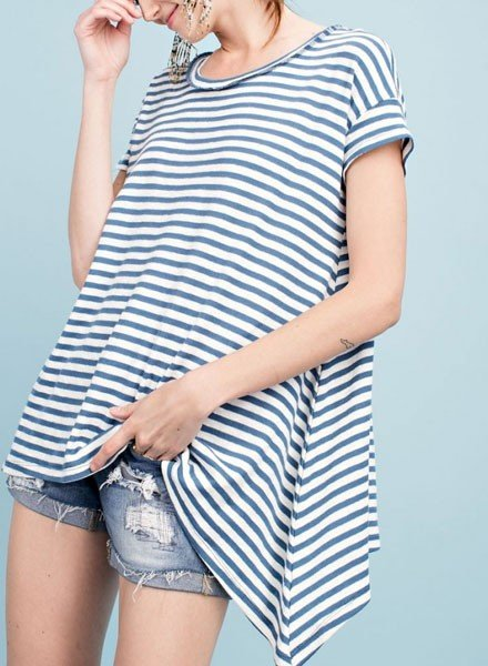 Easel Oh So Sailor Top In Yacht Blue & Natural