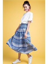 Easel Boho Skirt In Blues