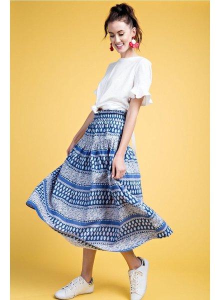 Easel Boho Skirt In Blues