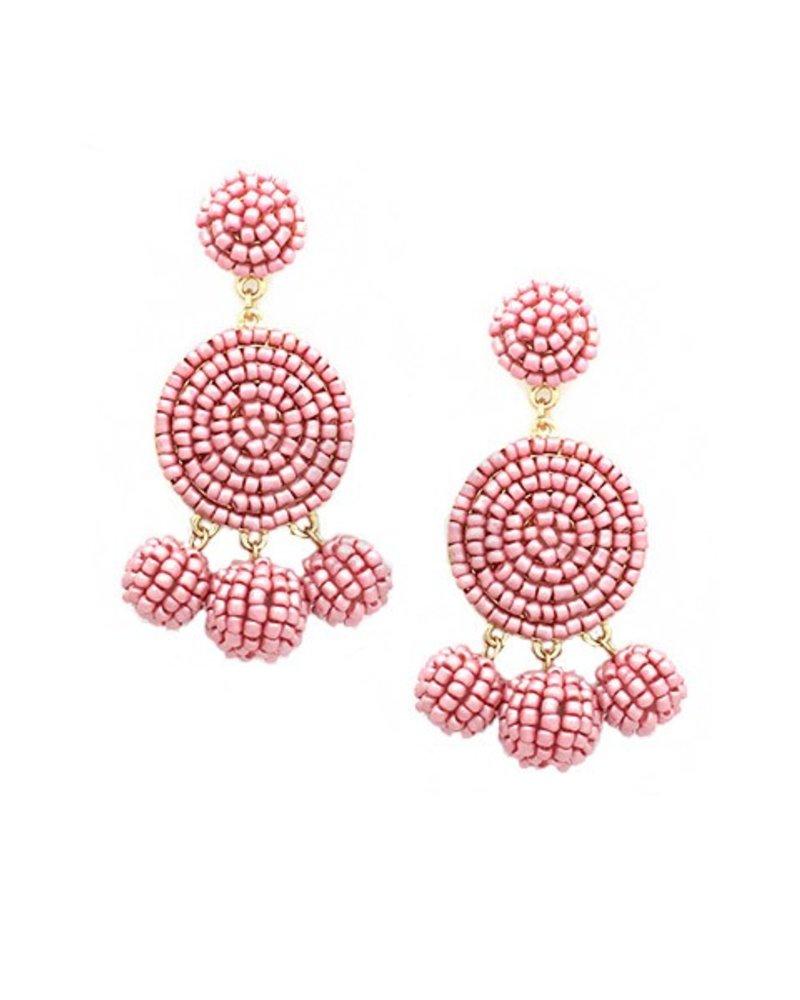 Seed Bead Ball Dangle Earrings In Dusty Pink