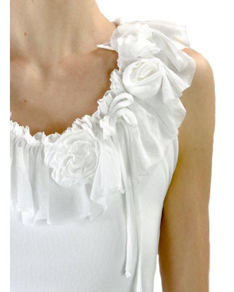 Petit Pois' Ruffled Romantic Top In White