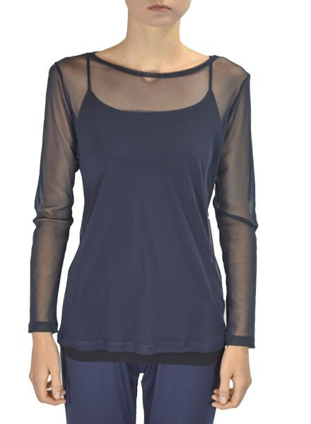 Comfy U.S.A. Comfy Sheer Long Sleeve Tee In Navy