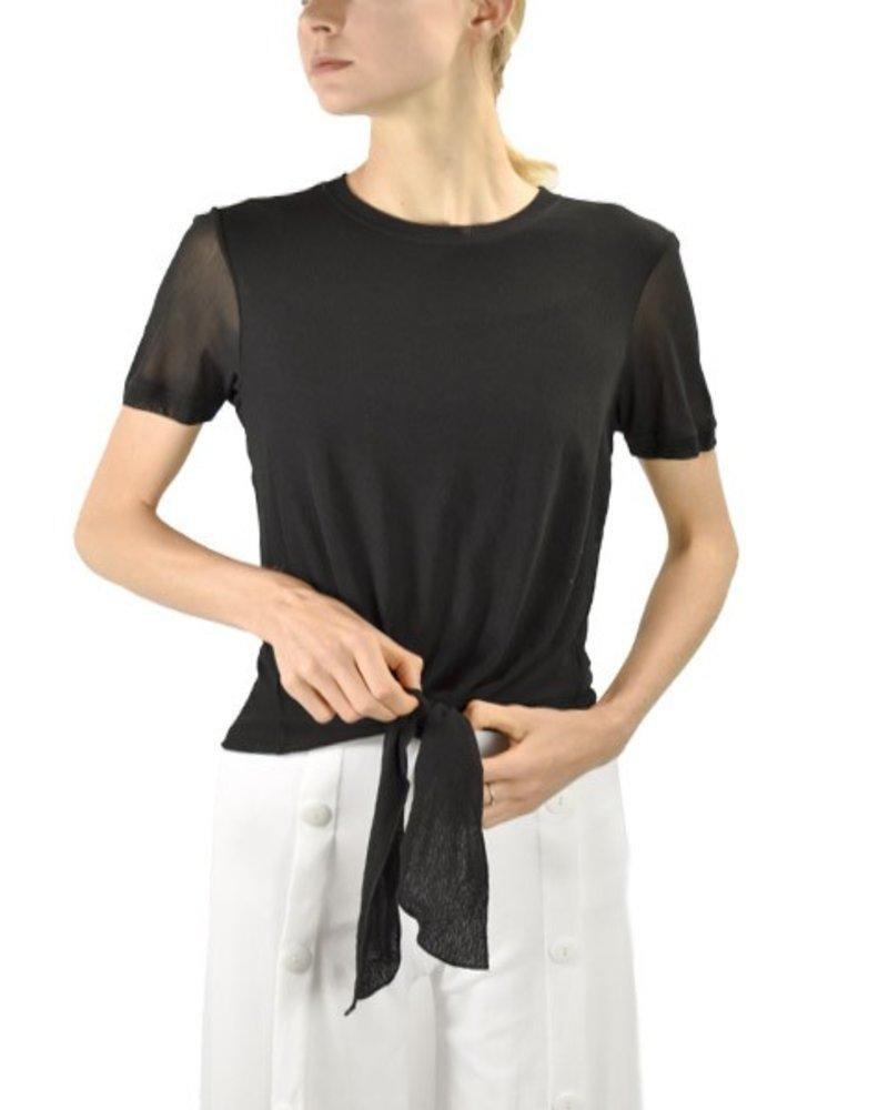 Petit Pois Tie Top T-Shirt In Black