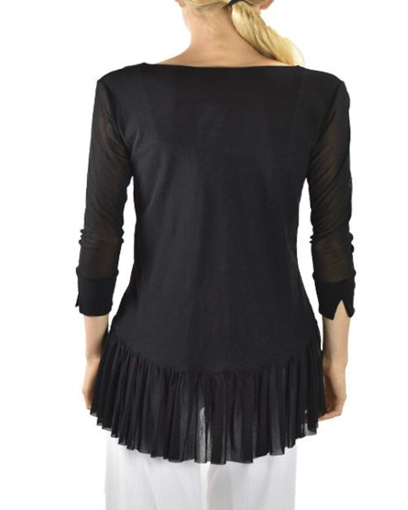 Petit Pois Shirred Bottom Top In Black