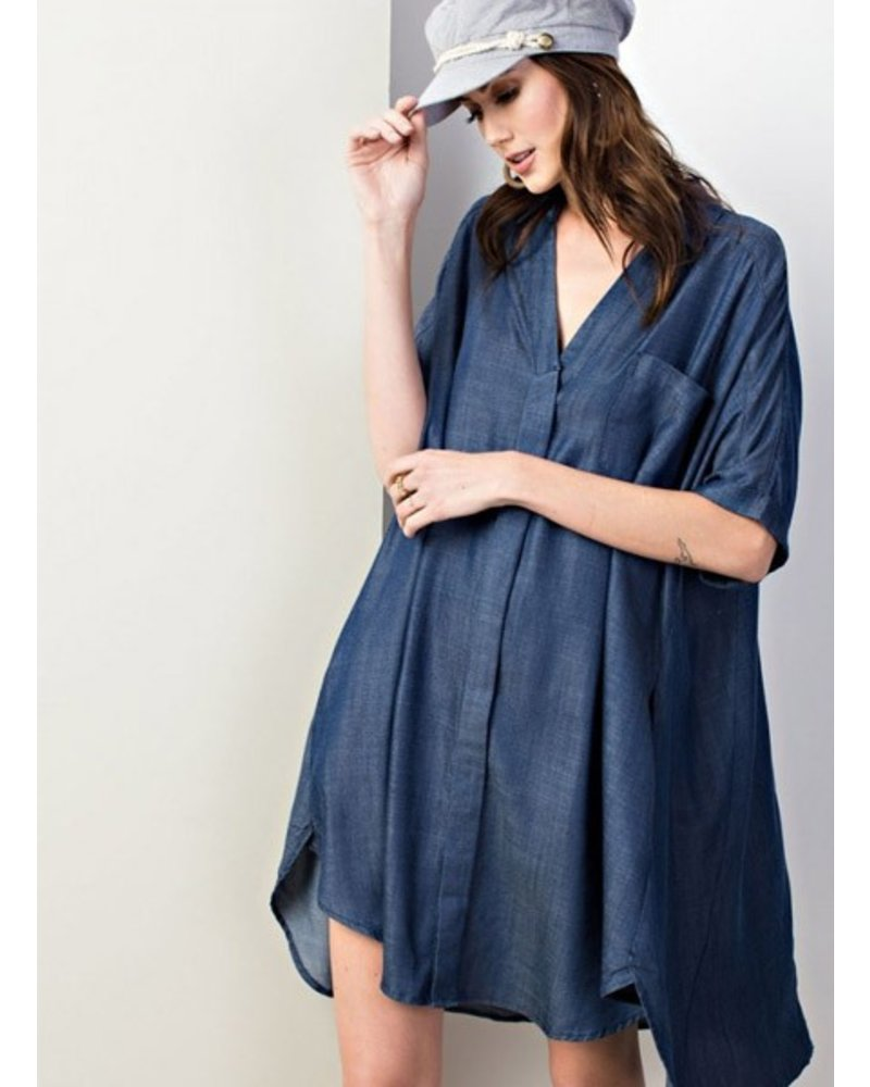 Easel Easy Button Down Dress