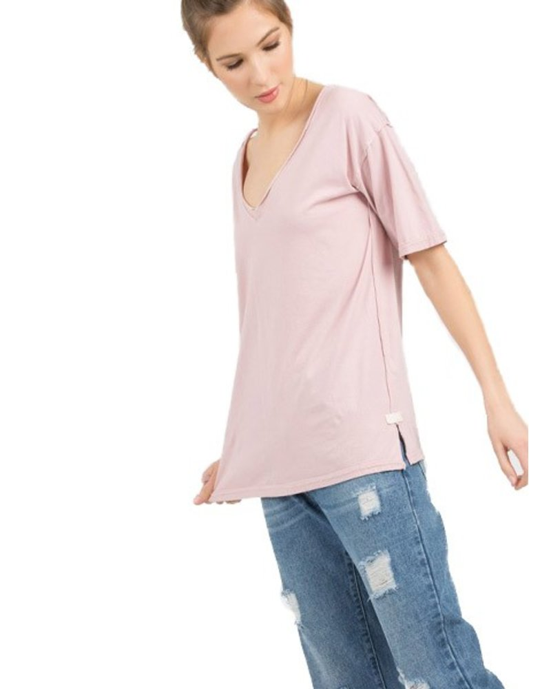 Distressed Edge Tee In Pink