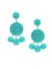 Seed Bead Ball Dangle Earrings In Turquoise