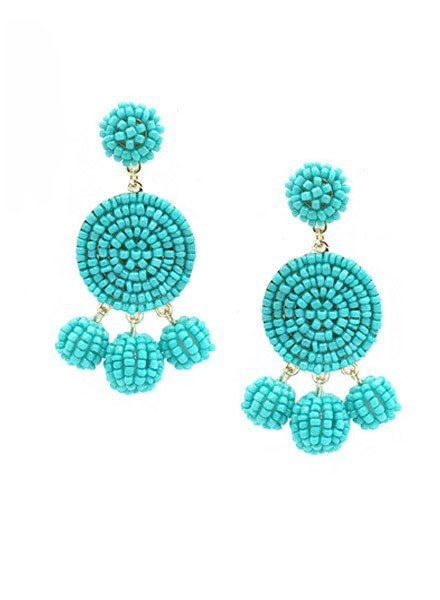 Seed Bead Ball Dangle Earrings In Turquoise