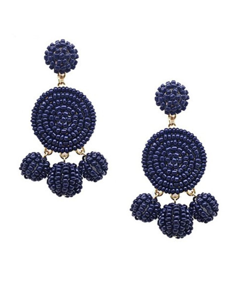 Seed Bead Ball Dangle Earrings In Navy