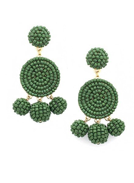 Seed Bead Ball Dangle Earrings In Olive
