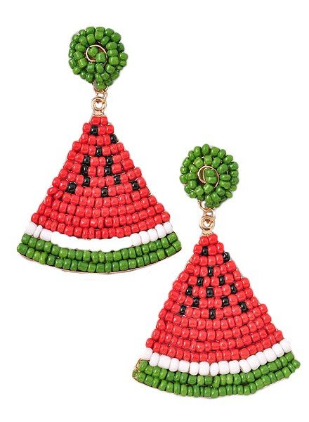 Merveille Summer Melon Beaded Earrings