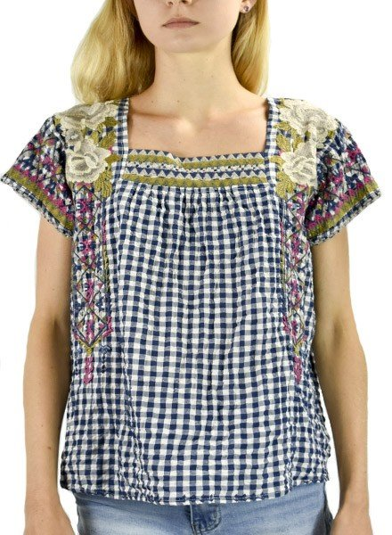 Johnny Was Ronnie Crop Mexican Top In Blue Gingham
