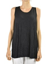 Comfy Slim Long Tank In Crinkle Black