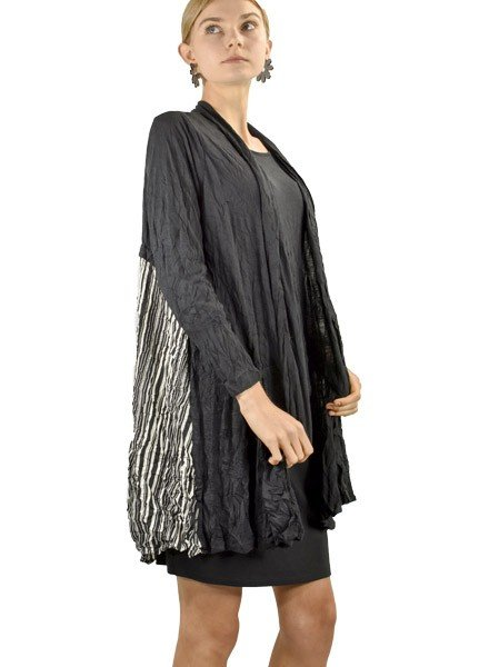 Comfy Kim Cardigan In Black & David Stripe