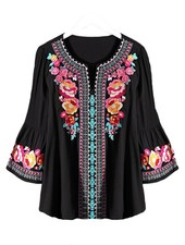 Florence Embroidered Top In Black
