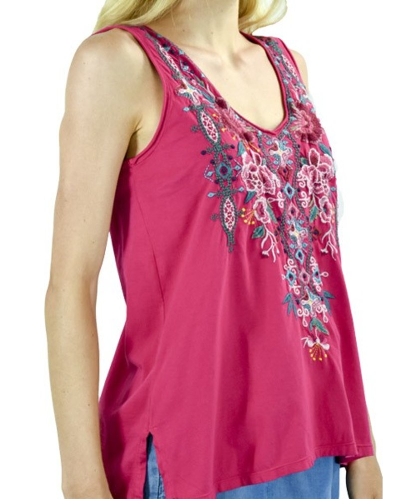 Johnny Was Peta V-Neck Tank In Mob Pink