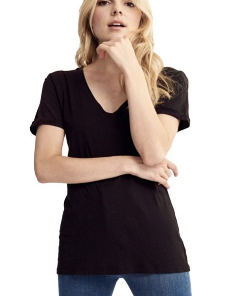Roll Sleeve Staple Tee in Black