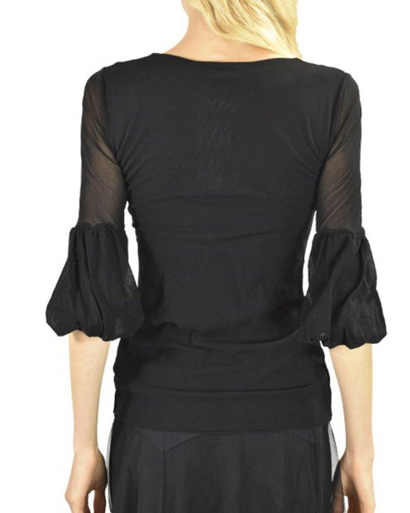 Petit Pois' 3/4 Puff Sleeve In Black