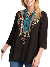 Tuscany Lace-Up Tunic In Black